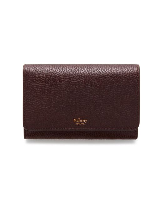 Mulberry Multicolor Medium Continental French Purse In Oxblood Natural Grain Leather