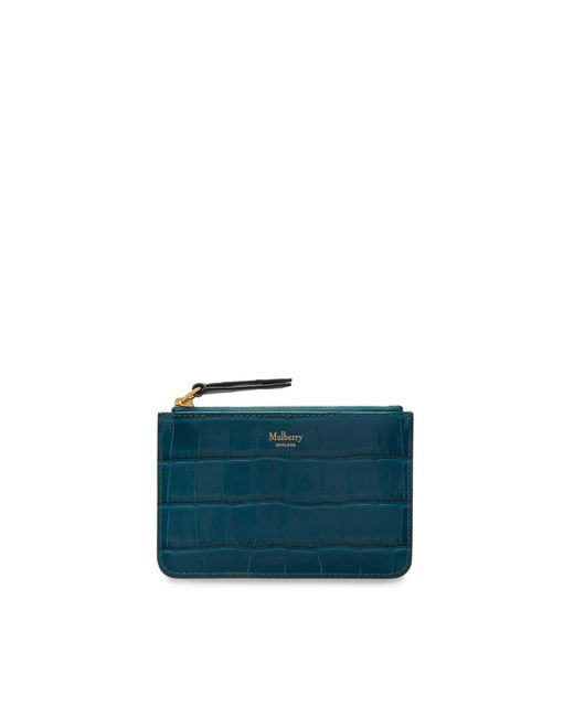 Mulberry Zip Coin Pouch In Nautical Blue Croc Print