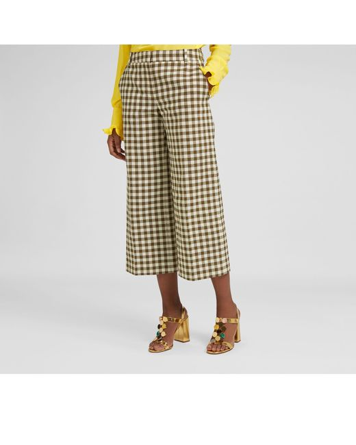 Mulberry - Green Ursula Trousers In Dark Olive Gingham Check - Lyst