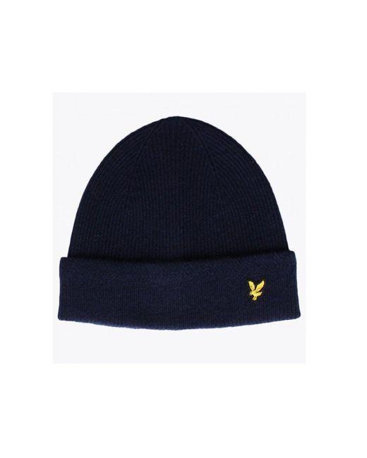 Lyle & Scott Blue Moss Green Racked Rib Wool Beanie Hat for men