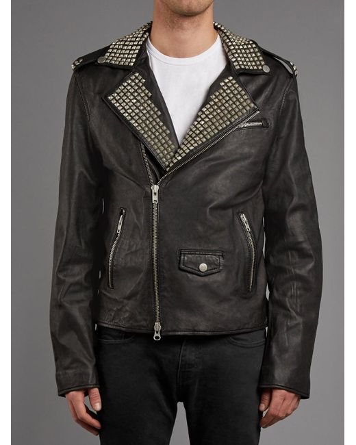 Muubaa - Vortic Studded Leather Biker Jacket In Black - Lyst