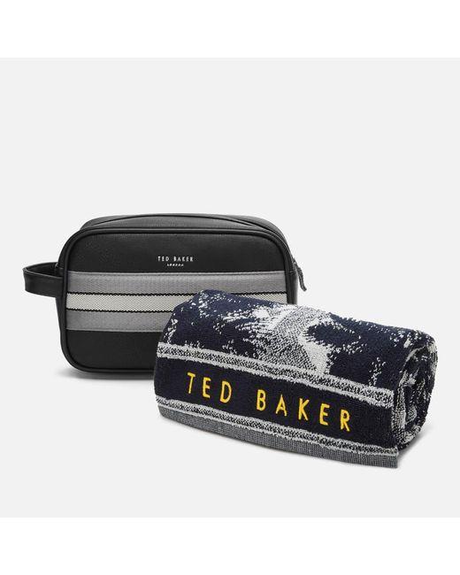 Ted Baker Black Endset Washbag And Towel Gift Set for men