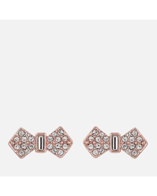 Ted Baker Multicolor Sersi Solitaire Pave Bow Earrings