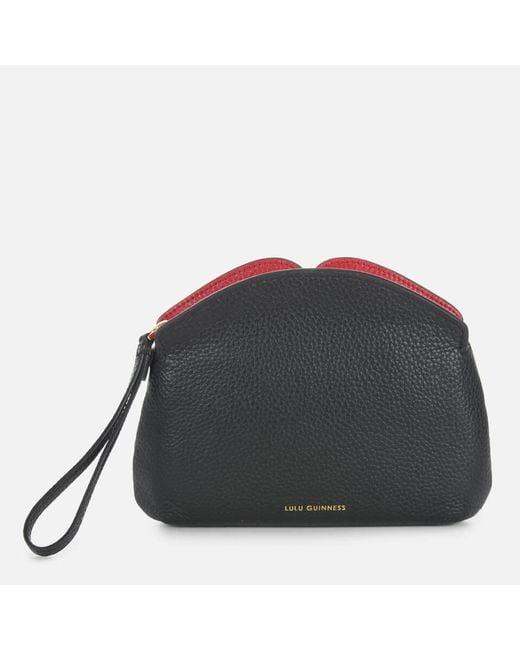 Lulu Guinness Black Peekaboo Lip Clover Clutch Bag