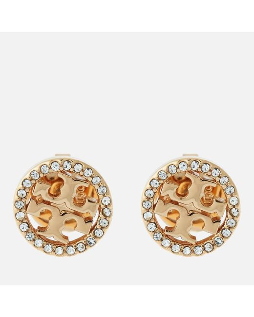 Tory Burch Metallic Crystal Logo Circle Stud Earrings