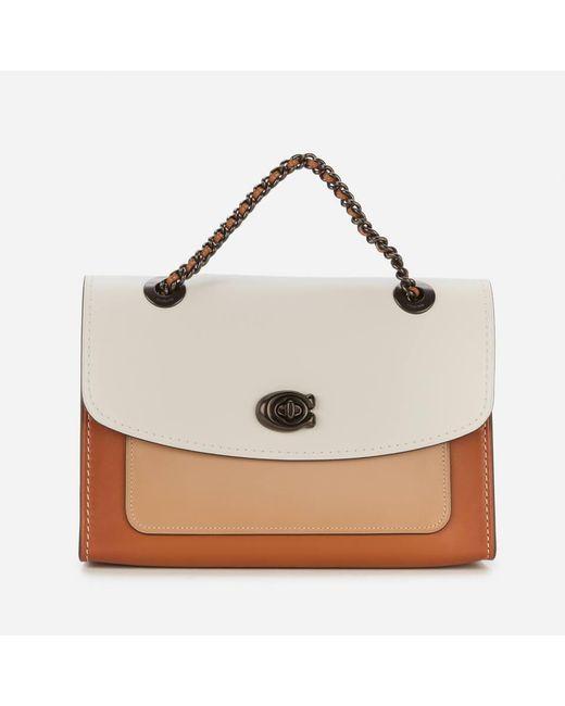 COACH White Colorblock Leather Parker Shoulder Bag