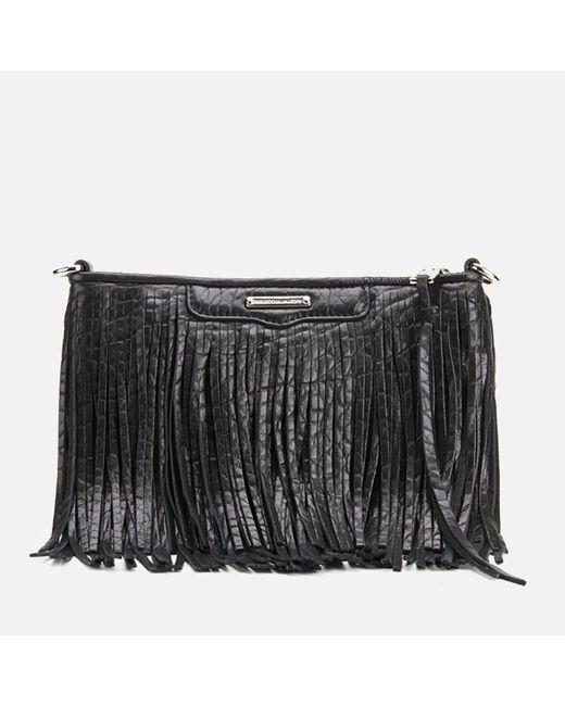 Rebecca Minkoff - Black Finn Fringe Leather Clutch Bag - Lyst