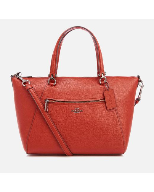 COACH - Red Pebbled Leather Prairie Satchel - Lyst