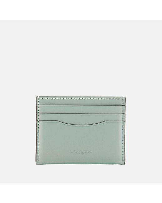 COACH - Green Metallic Flat Card Case - Lyst