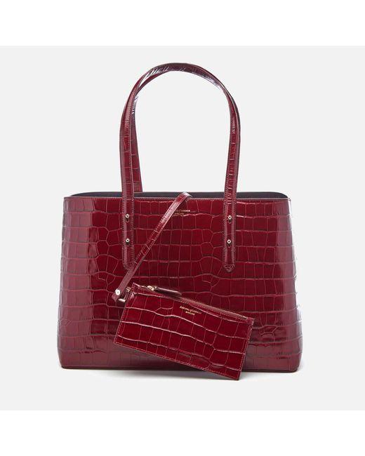 Aspinal - Red Regent Croc Tote Bag - Lyst