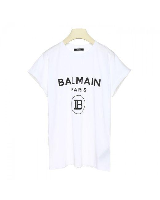 Balmain White Logo Printed T Shirt