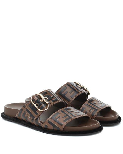 Fendi Brown Ff Embossed Leather Sandals