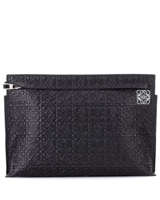Loewe Black T Embossed Leather Pouch