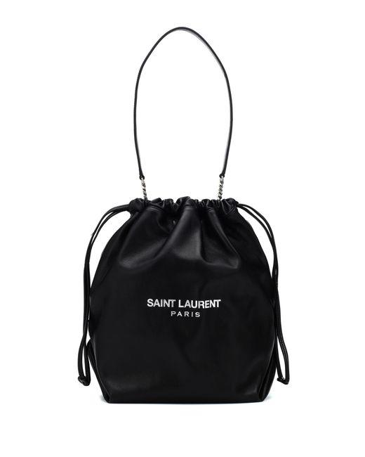 Saint Laurent Black Teddy Leather Bucket Bag