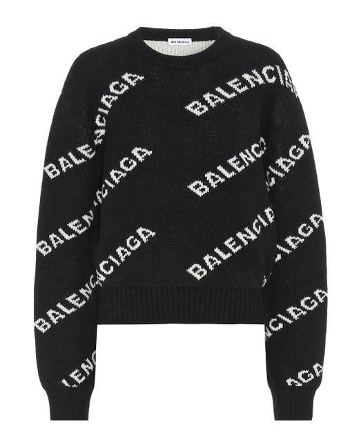 Balenciaga Black Jacquard Logo Wool Blend Jumper