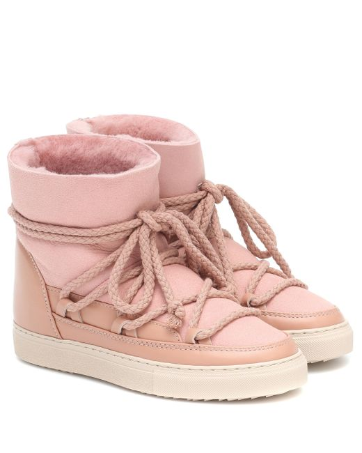 Inuikii Pink Leather And Shearling Ankle Boots