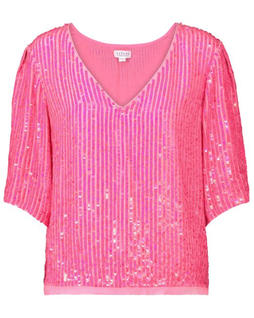 Velvet Pink Karen Sequined Top