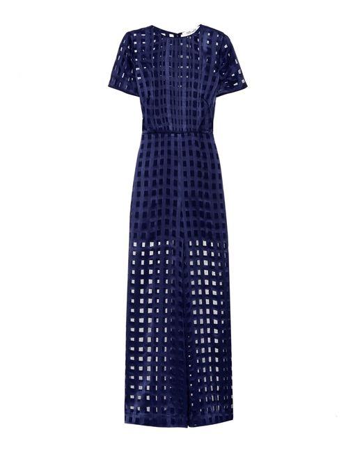 Diane von Furstenberg | Blue Cropped Flared Jumpsuit | Lyst