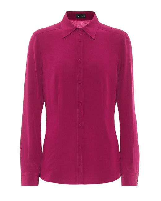 Etro Pink Silk Crêpe De Chine Shirt