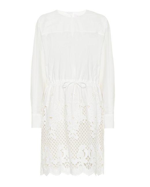 See By Chloé Vestido corto de algodón bordado de mujer de color blanco
