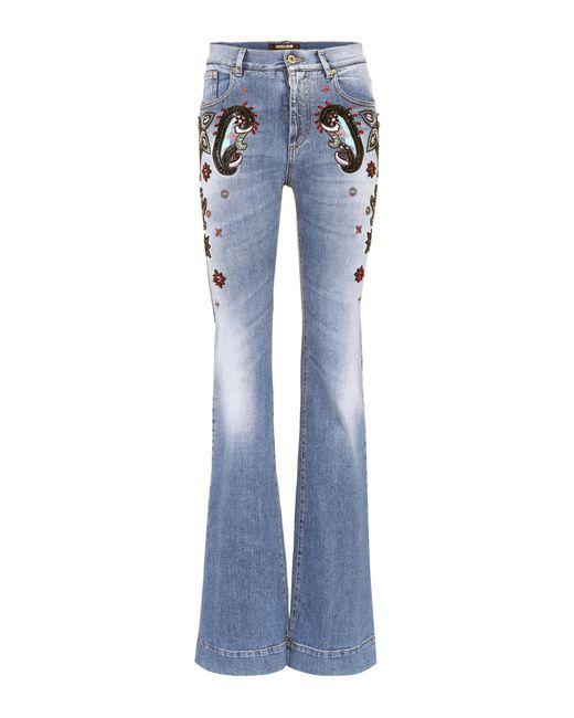 Roberto Cavalli - Blue Beaded High-waist Jeans - Lyst