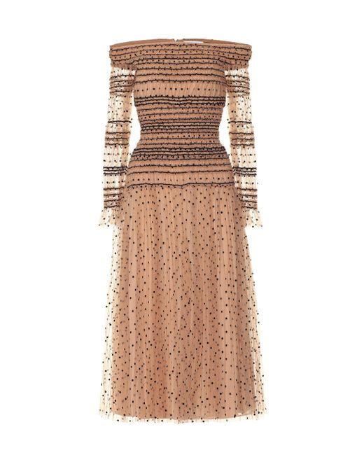 Self-Portrait Natural Midi Dress With Spots