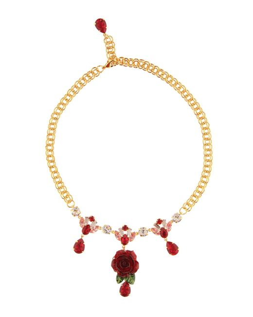 Dolce & Gabbana - Red Crystal-embellished Rose Necklace - Lyst