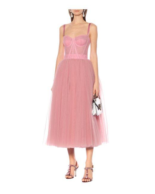 Dolce & Gabbana Pink Ballerina Longuette-Kleid Aus Tüll