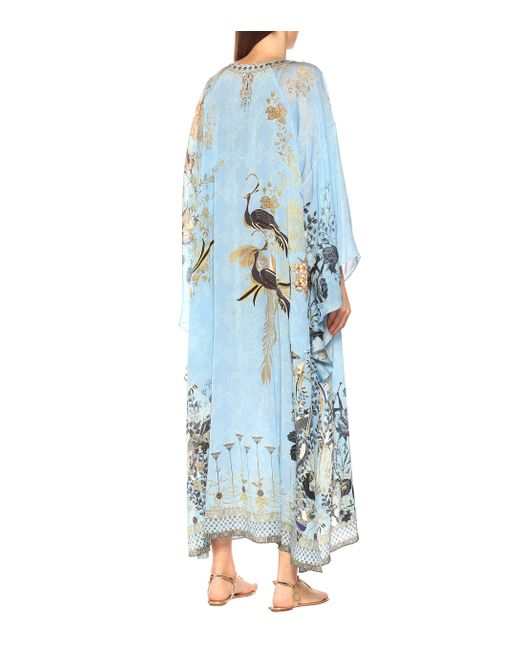 Camilla Blue Embellished Silk Kaftan