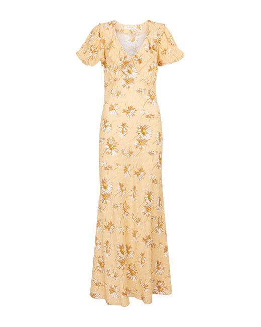 Rodarte Yellow Floral Ruffled Silk Maxi Dress
