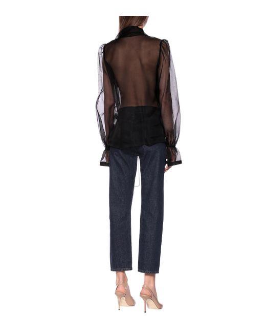 Dolce & Gabbana Black Schluppenbluse aus Seidenorganza