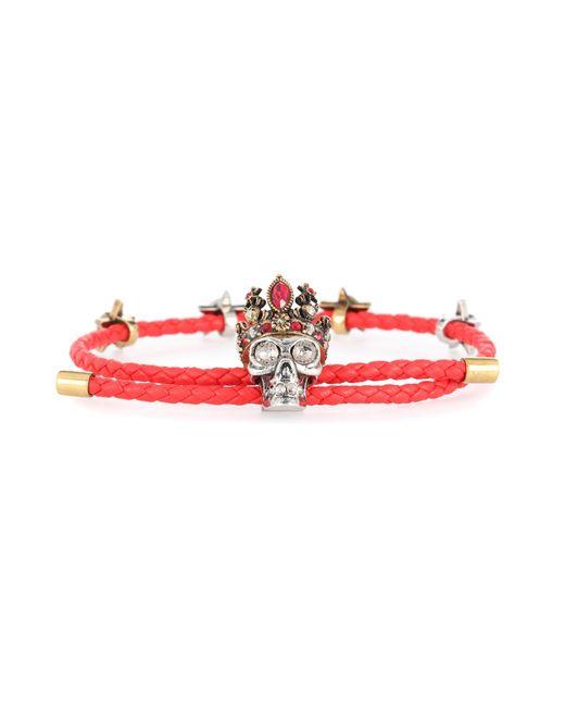 Alexander McQueen - Red Queen Leather Bracelet - Lyst
