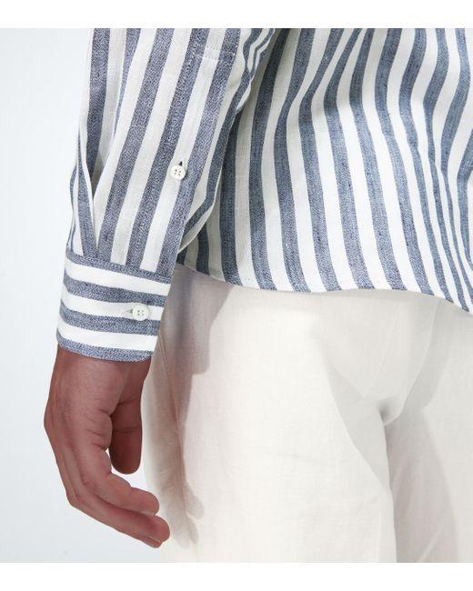 Brunello Cucinelli Blue Exklusiv bei Mytheresa – Gestreiftes Hemd