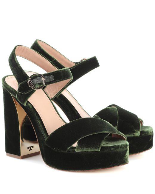 Tory Burch | Green Loretta 115 Velvet Plateau Sandals | Lyst