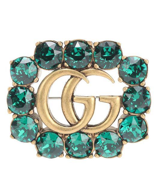 Spilla Doppia G in metallo con cristalli di Gucci in Green