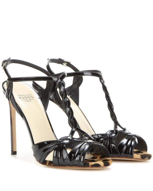 Francesco Russo - Black Patent Leather Sandals - Lyst