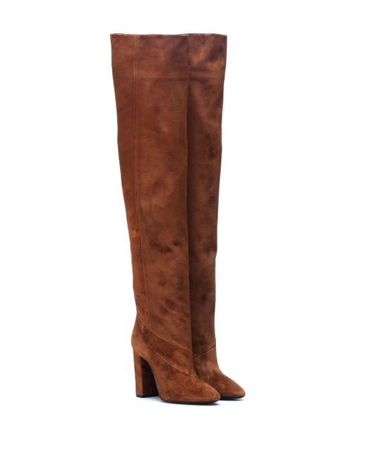 Saint Laurent Botas Lou 100 de gamuza de mujer de color marrón