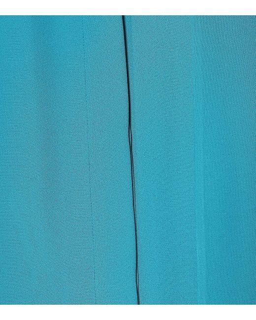 Balenciaga Blue Schluppenbluse Scarf aus Crêpe
