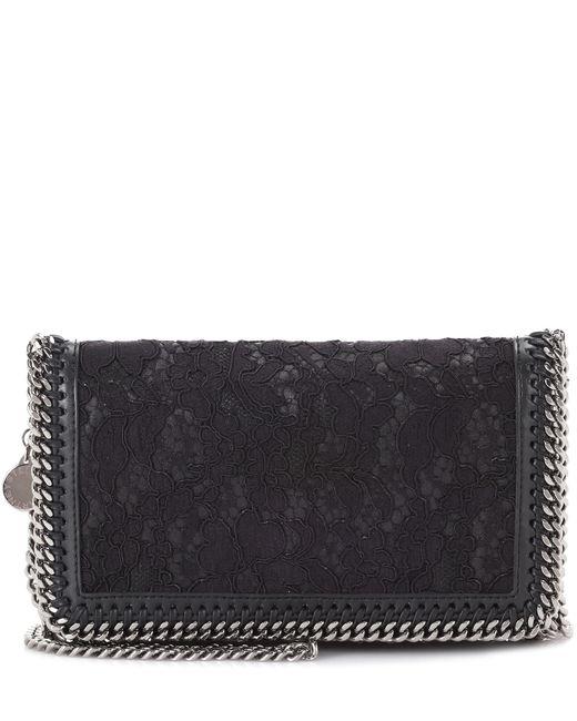 Stella McCartney | Black Falabella Lace Shoulder Bag | Lyst