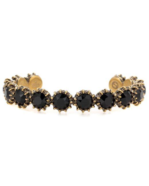 Gucci | Black Glass Stone-embellished Bracelet | Lyst