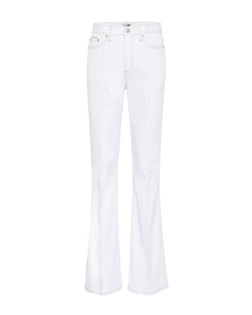 Eytys White High-Rise Flared Jeans Oregon Twill