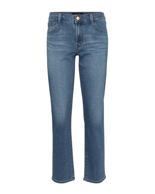 Jeans rectos Adele de tiro medio J Brand de color Blue