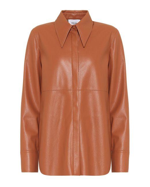 Nanushka Camisa de piel sintética de mujer de color naranja s6p8H