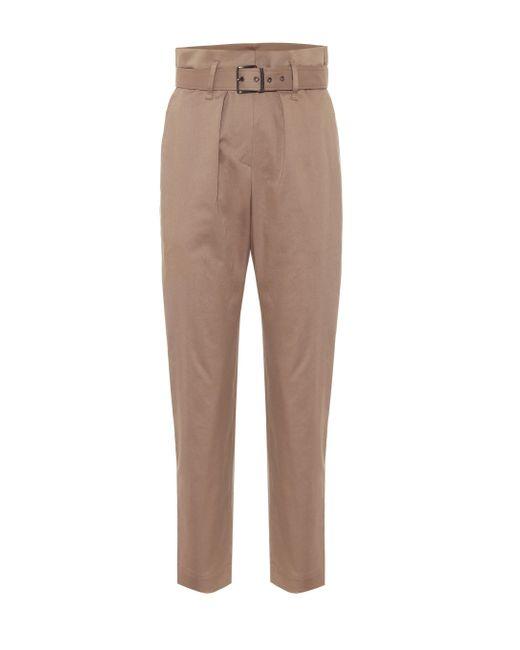 Pantaloni paperbag in cotone stretch di Brunello Cucinelli in Brown
