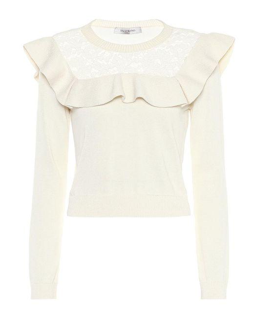 Pullover in cotone con pizzo di Valentino in White