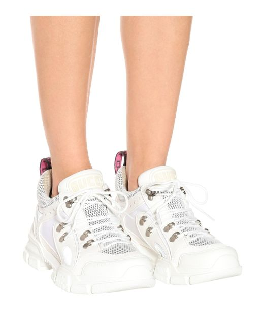 Gucci White Flashtrek Embellished Trainers