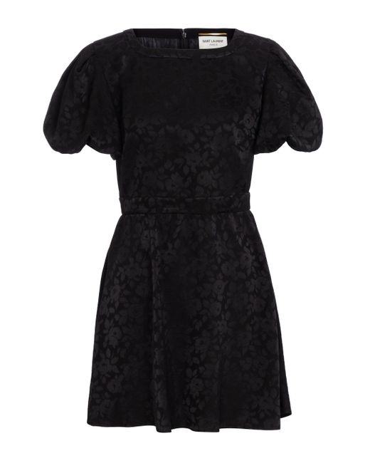 Saint Laurent Black Minikleid aus Seiden-Jacquard