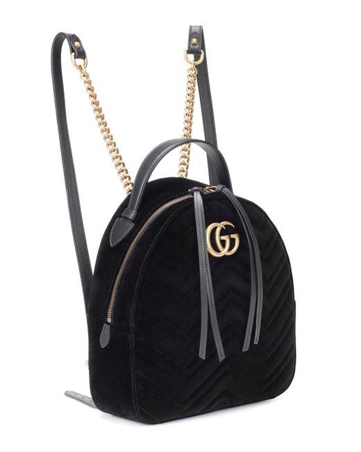 62ed8994d5e0 ... Gucci - Black GG Marmont Velvet Backpack - Lyst ...