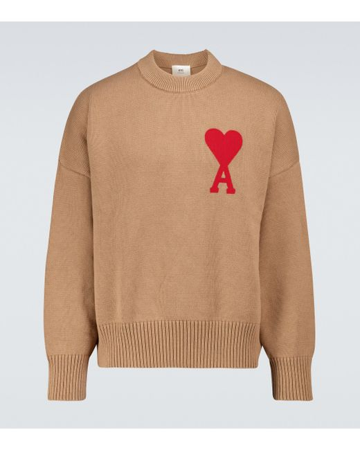 AMI Natural Ami De Coeur Oversized Sweater for men