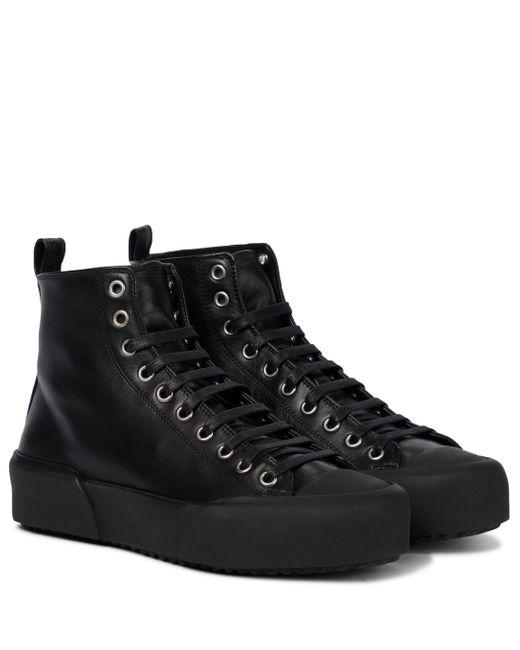 Jil Sander Black High-Top-Sneakers aus Leder